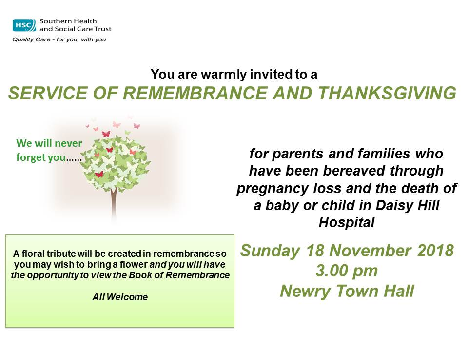 2018 Invite Remembrance Service Newry Town Halll 18 Nov 2018