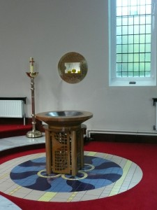 Baptismal font and Holy Oils