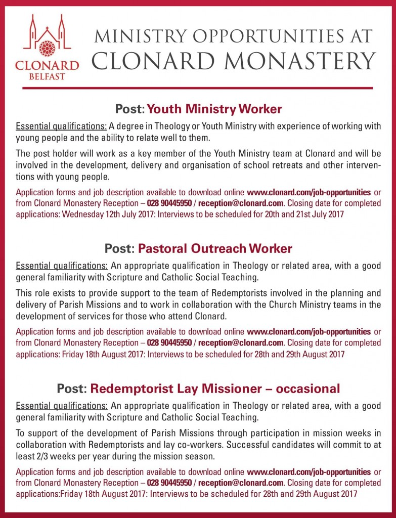 Clonard Monastery Job Advert-page-001