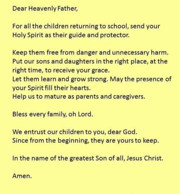Return to School Prayer