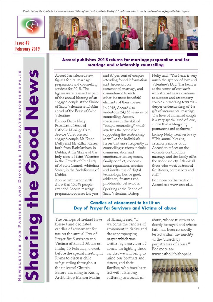 Sharing the Good News February 2019 Front page