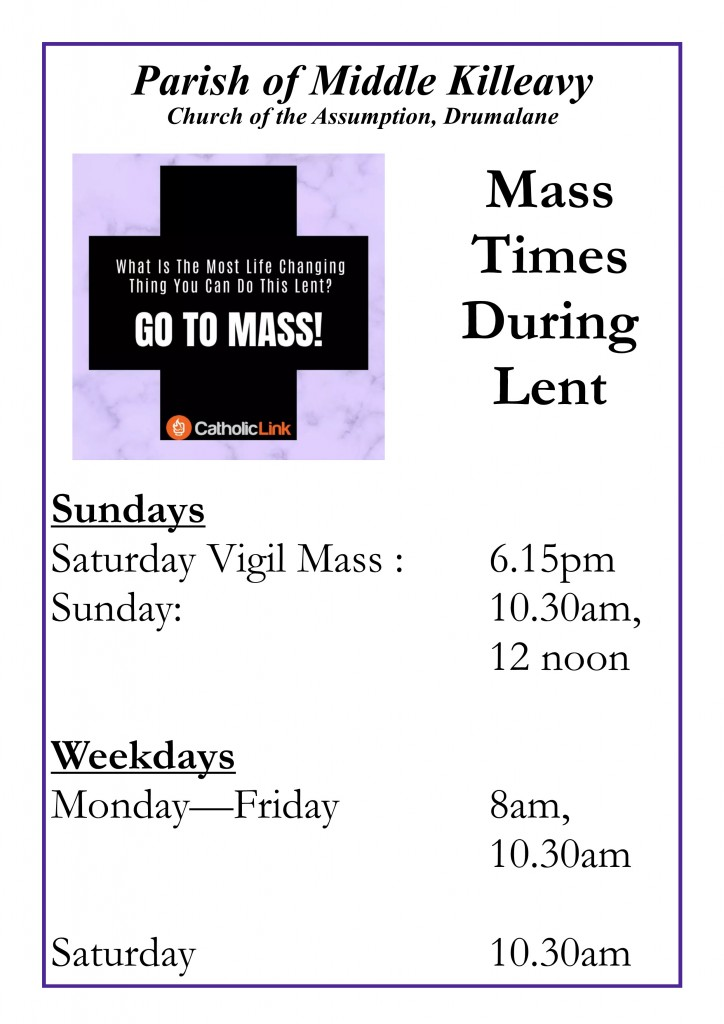 Mass Times in Lent
