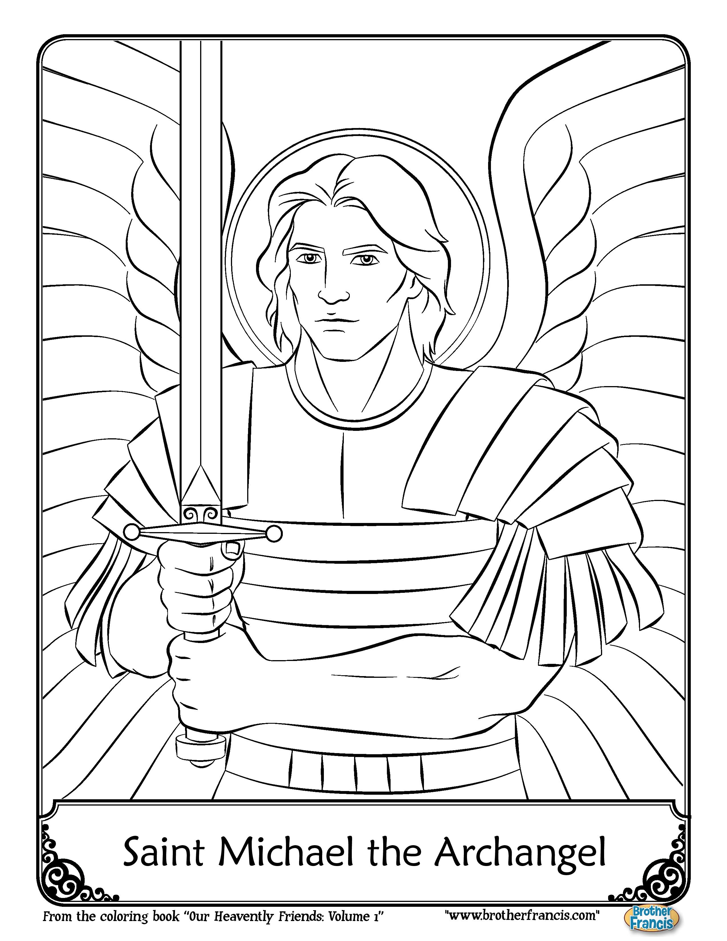 September 29_saint-michael-the-archangel-coloring-page-brother-francis-page-001